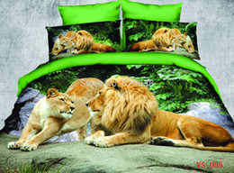 Wholesale Cotton Satin Bedding with PIECES PER SET be printed by High Definition of Double Lion with Best Color Bedding Set