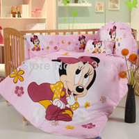baby crib duvet - babies mickey and minnie mouse cartoon baby crib bedding set quilt comforter duvet with pillow bumper mattress sets pink