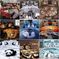 Cheap Wholesale-3D Deer Tiger Wolf bedding set queen size 4pcs Animal printed duvet comforter cover bedclothes bed sheet set cotton home textile