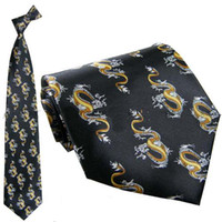 Wholesale Black Unique Ties Cheap Silk Chinese Dragon patterns mix Free