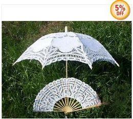 Promotion! White SUN BATTEN LACE PARASOL UMBRELLA WEDDING + Lace Fan 4pcs lot