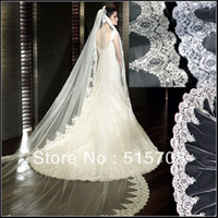 Cheap Wholesale-Gorgeous Cathedral Train Long Veil 3 metre High Quality New White  Ivory 1T Wedding Bridal Veils Car Bone Lace Edge without Comb