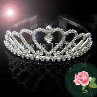 Cheap Wholesale-Wedding Bridal Bridesmaid Flower Girls crystal hair comb tiara headband crown