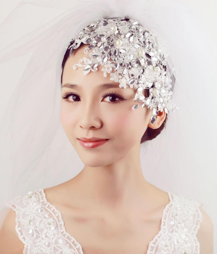 Wholesale Bridal Birdcage Wedding Veil 2015 Beautiful Pearl Lace Bride Hair Accessory Veil