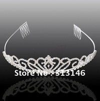 Cheap Wholesale-Wedding Bridal Tiara Jewelry Shining headband Austria Crystal Tiara Crown Bridal Hair Jewelry Diamond fit Veil