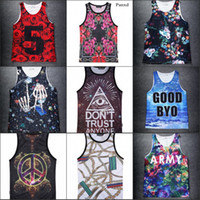 abstract impressionism - New spring Summer D print Tank Tops body building Men women gym d gym casual abstract vest undershirts impressionism
