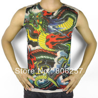 american apparel vest - European and American style dragon totem tattoo sleeveless tank tops tops for men tattoo Apparel tattoo vest dragon design
