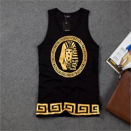 Wholesale-DR-07 Harajuku Egypt Golden KING HIPHOP Fashion Loose Cotton Men tank top Casual shirt Sleeveless men Veste homme Gold gym men