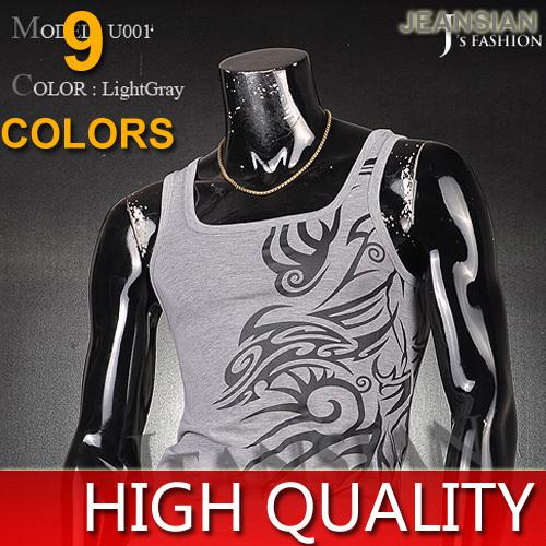 Wholesale-2015 Mens Summer Undershirt Dragon Tattoo Strap Skinny Sport Muscle Vest High Quality Tank Tops Shirts 9 Colors 4 Sizes U001