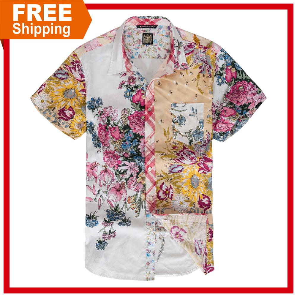 Shirt design online uk - Wholesale Free Shipping Slim Fit Fashion Casual Design Floral Collar Shirt For Men Short Sleeve Peony Flower Male Brand Shirt