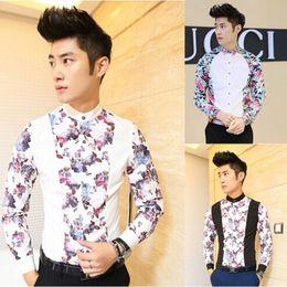 Wholesale-Men Spring Shirts New Arrival Fashion Blouses Men Floral Stitching Brand Design Dress Shirts Slim Fit Cotton Long Shirts F1709