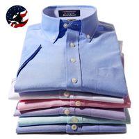 Cheap Wholesale-2015 New Fashion Men's Clothing Summer Mens Short-sleeve Shirts Cotton Oxford Silk Business Casual Shirts Dress Shirts for men