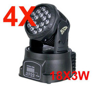 Cheap 4PCS LOT Qwash RGB Pro LED Mini Moving Heads Club DJ Stage Lighting 18*3W 18X3W