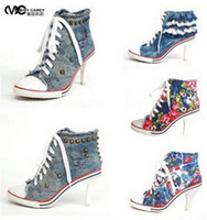 denim fabric - New Arrival Spring And Autumn Canvas High Heels Rivet High Heel Sneakers For Women Denim Canvas Shoes
