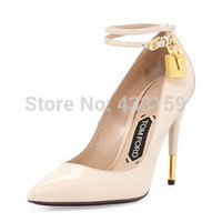 Wholesale New hot popular black patent leather gold lock high heel womens pumps shoes