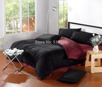 bedroom comforters sets - new arrival high quality cotton satin plain color red black bedroom bedding set comforter set