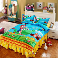Wholesale Home decoratioin textile cartoon cotton children super mario brothers printed bedding set sheet cover twin full size