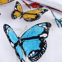 Cheap Wholesale-Luxury butterfly 3d oil painting 4pcs bedding set king queen size duvet quilt cover bedlinen set comforter set fast shippping