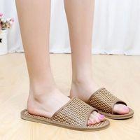 bamboo flip flops - House Floor Slipper Shoes Men Ladies Indoor Slipper Chinelos de Homens Naturalmats Summer Home Bamboo Linen Slippers Male Women