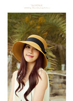 tea party hats - fashion summer beach hat large brimmed hat UV protection of women bow visor chapeu feminino hats for women tea party toca