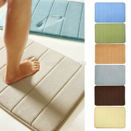 Wholesale Free cm Memory Foam Bath Mat Designer Balcony Bathroom Microfiber Mat Shower Rugs Entrance With Non Slip Back Backing