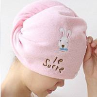shower cap - Cartoon rabbit magic dry hair cap shower cap super absorbent microfiber towel dry hair