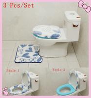 Cheap Wholesale-3pcs set Bathroom washable Sitting Toilet Seat Cushion Mat +Closestool Cover Bathroom Warmer Toilet Washable Seat Cover Pads