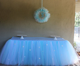 Wholesale-Queen Snowflake Tutu Table Skirt Custom Winter Wonderland Tulle Tutu Table Skirt Wedding Birthday Baby Shower Party Decoration