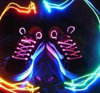 Wholesale LED light up shoelaces shoe laces disco flash Optical Fiber flashing Funny shoelace pairs