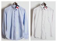 Wholesale THOM TB new gentleman Fashion Three striped shirt collar oxford Slim shirt