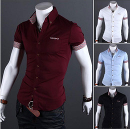 Wholesale Mens Fashion Dress Shirts short sleeve casual shirt Male tommy slim fit Clothes Men s Clothing camisas masculinas social