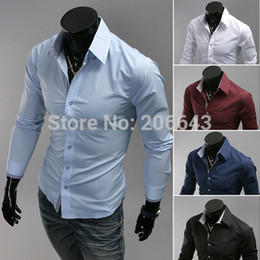 Wholesale- Autumn Winter New Man's Covered Button Casual Shirts Men's Cotton Turn-down Collar Shirts Man White,Black, Wine Red