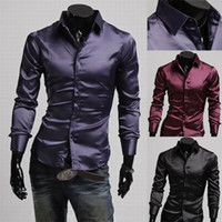 Cheap Wholesale-2015 New Brand Classic Casual Faux Silk Shiny Mens Shirts Fashion Long-sleeve Slim Fit Social Camisas Masculinas M-XXL
