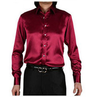 Cheap Wholesale-2015 camisa masculina men shirts silk shiny casual mens dress shirts Stylish fashion Shirts slim men long sleeve shirt SMC033