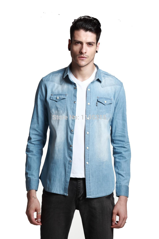 Shirt design blue cotton - Big Discount Blue 100 Cotton Jeans Men Shirts Slim Fit Fashion Design Luxury Party Wear Clothing Casual Man Jeans Jacket From Tayler 36 72 Dhgate Com
