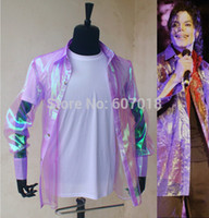 Cheap Wholesale-Rare PUNK Rock Casual Classic MJ iridescent purple twinkle organza button front This it it shirt Michael Jackson Costume