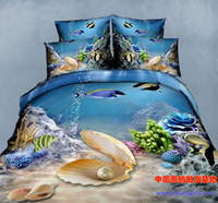 Cheap Wholesale-3D Blue ocean comforter bedding set queen size duvet cover bedspread sheets bed in a bag bedroom oil painting shell pearl fish
