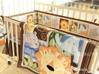 baby king items - Embroidered Africa lion Pattern Baby Cot Crib Bedding Set items includes Quilt Bumper Bed Skirt Mattress Cover