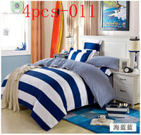 Cheap Wholesale-White blue stripes Full Queen King size Cotton 4pcs bedding set bedclothes sets bed sheet pillowcase quilt cover