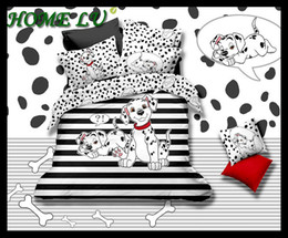 Wholesale Hot sale Cotton cute beddings king queen size bed sheets spot dog collection reactive printing duvet cover set HKY160