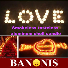 Wholesale Smokeless tasteless white aluminum shell candle wax tea bar counter adornment candles wedding party place word candles x