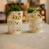 iron candlestick - White Birdcage Candle Holders Set Wedding Decoration Iron Candlestick Lantern