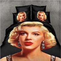monroe bedding - Marylin Monroe Bedding Set d black bed linen home textile queen size via Fedex