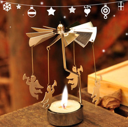 Wholesale metal candle holder Reindeer Angel rotating windmill DIY Aluminum Candlestick factory price FOB