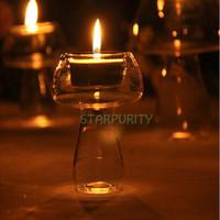 beach dinner - Mushroom Shape Glass Candle Holders Candlestick for Wedding Dinner Decor Outdoor Camping Beach Garden