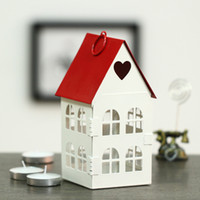 Wholesale Fashion Zakka Vintage Iron Candle Holders Small house Korean love Red White Candlestick Wedding Decoration Gift