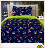 Cheap Wholesale-2 Pieces Skull Bedding Comforter Set for Single Double Bed, Skull and Crossbones Bedding for Teen Boys