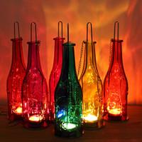 beer bottle candles - fashion metal beer bottle candle holder decoration lamps bar lights outdoor pendant light Farol De Metal