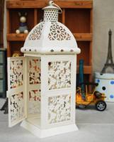 antique candle lanterns - Metal decoration gift candle holder house shop decoration Iron lantern vintage antique white