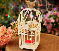 beaded votive holders - Candlestick vintage party metal bird cage decoration for weddings crystal beaded votive wrought iron candle holder